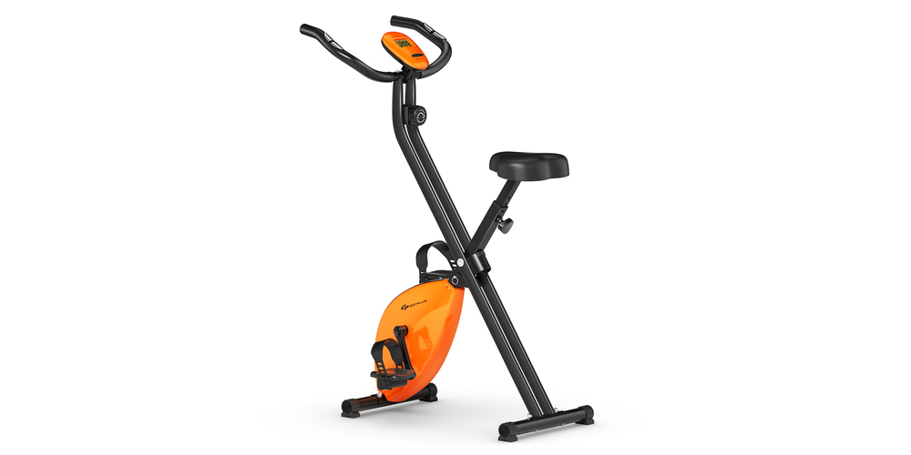a skinny orange and black exercise bike