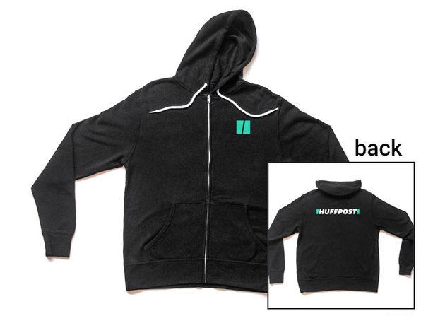HuffPost Black Zip-Up Hoodie (XL)