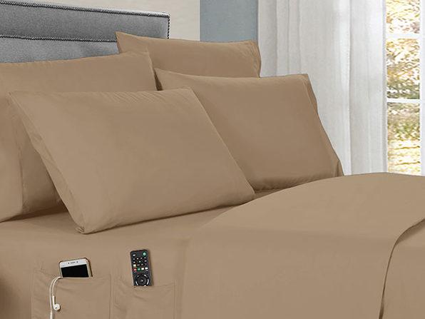 Kathy Ireland 6-piece Smart Sheet Sets w/ Pocket - Taupe - Full - Product Image