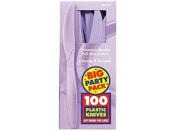 Party Favors - Big Party Pack - Lavender - Plastic Knives - 100ct