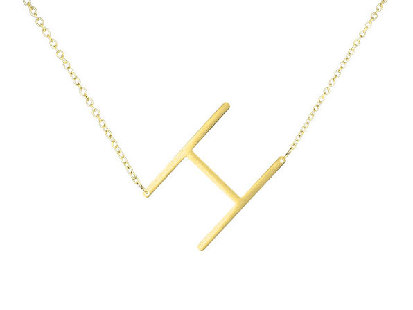 14K Gold Plated Letter Necklace - H - Product Image