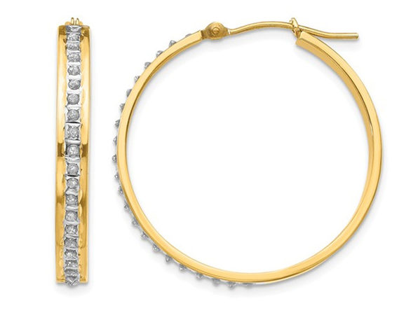 Accent Diamond Round Hoop Earrings in 14K Yellow Gold