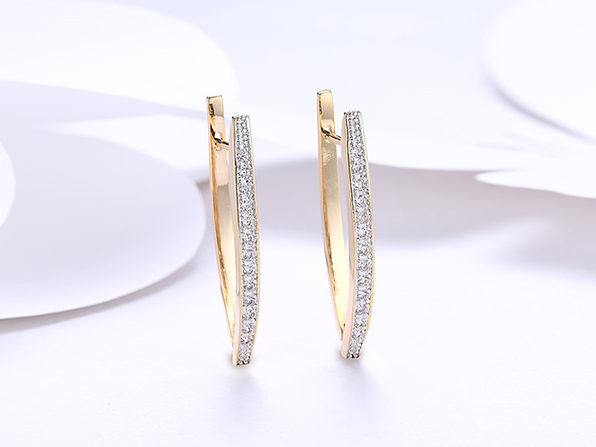 18K Gold Plated Curved Huggie Earrings with Micro-Pav'e Swarovski Crystals (2 Pairs)