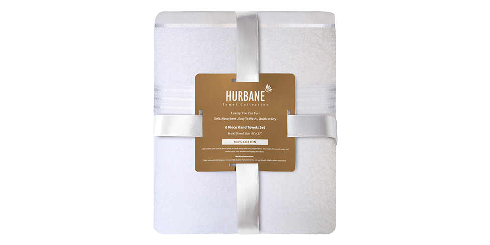 These comfy, durable, and sustainable hand towels are made from 100% cotton. They're highly absorbent, dry quickly, and are luxuriously soft. Plus, they'll last you a long time, thanks to their long-staple single-ply yarn construction.