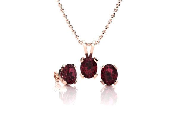 Oval Garnet Necklace & Earring Set In Rose Gold Over Sterling Silver