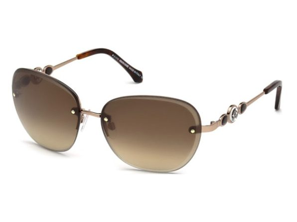 Roberto Cavalli RC783S-34G Women's Shiny Light Bronze Brown Mirror Lens Sunglasses - Gold