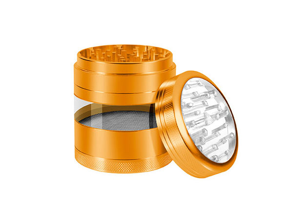 Aluminum Herb Grinder with Extra-Large Window (Gold)