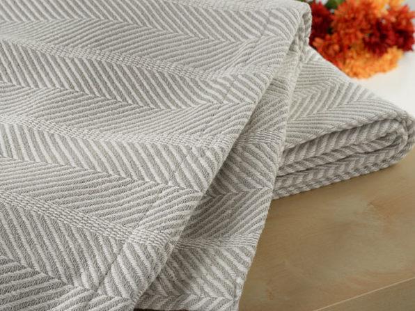 Bibb Home 100% Organic Cotton Certified Weave BlanketFull/Queen, Grey Herringbone - Product Image