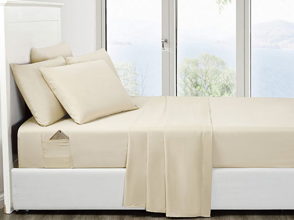 6-Piece Cream Ultra Soft Bed Sheet Set with Side Pockets King - Product Image