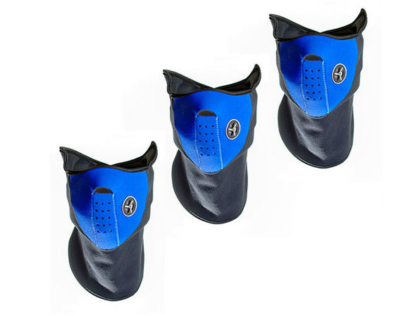 Neoprene/Fleece Neck & Face Masks (Blue/3-Pack)