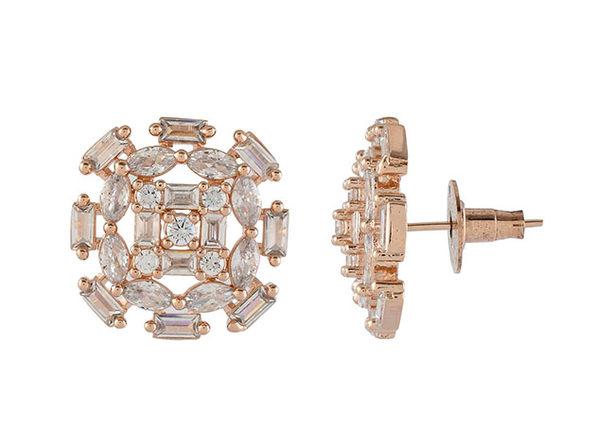 Cubic Zirconia Oval Baguette Stud Earrings (Rose Gold)