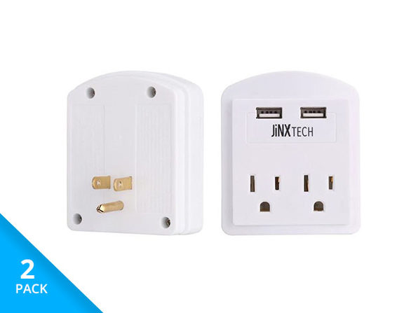 JinxTech 2-Outlet Surge Protector with Dual USB (2-pack/White)
