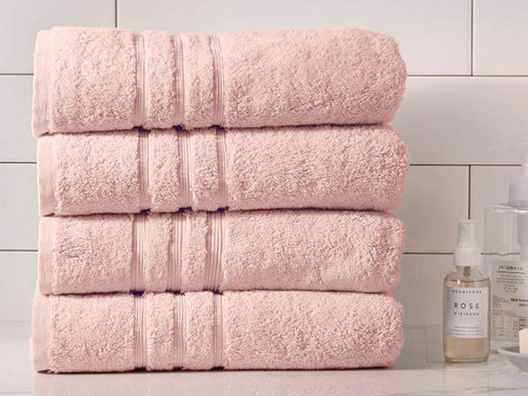 Turkish Cotton 700 GSM Bath Towels: Set of 4 (Blush)