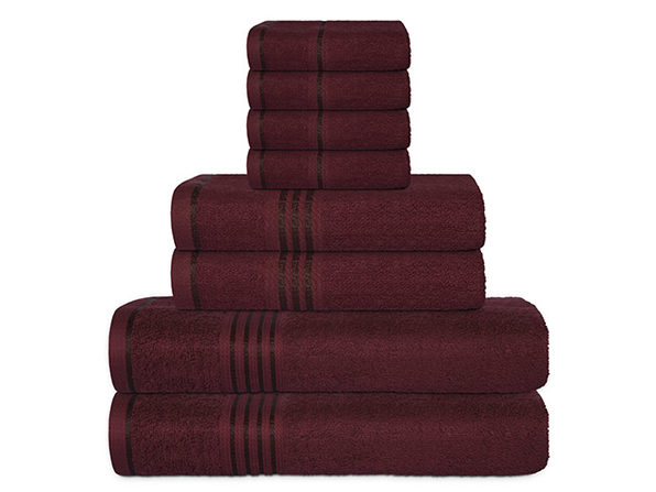Hurbane Home 8-Piece Bath Towel Set Burgundy - Product Image