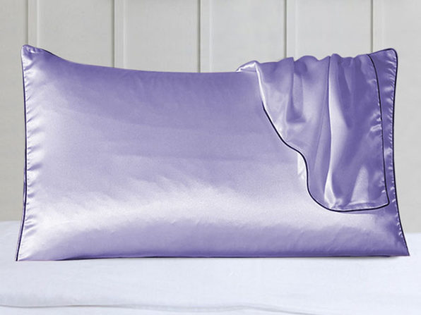 100% Silk Pillowcase Set With Trim Lavender - Product Image