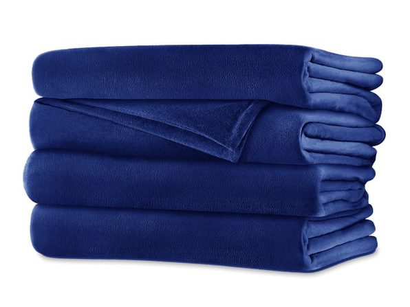 Sunbeam Soft Velvet Plush Electric Heated Warming Blanket Queen Royal Blue Washable Auto Shut Off 20 Heat Settings - Royal Blue