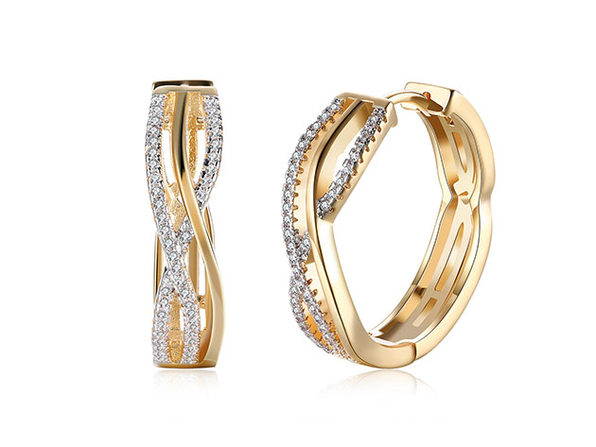 18K Gold Plated Criss Cross Pav'e Earrings with Swarovski Elements