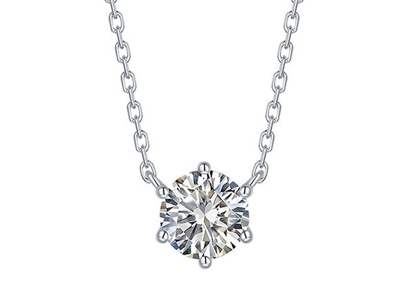 Essentials 0.50CT Lab-Grown Diamond Solitaire Prong Necklace in 10K White Gold
