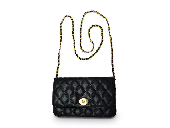 Quilted Maxi Shoulder Bag - Black - Product Image