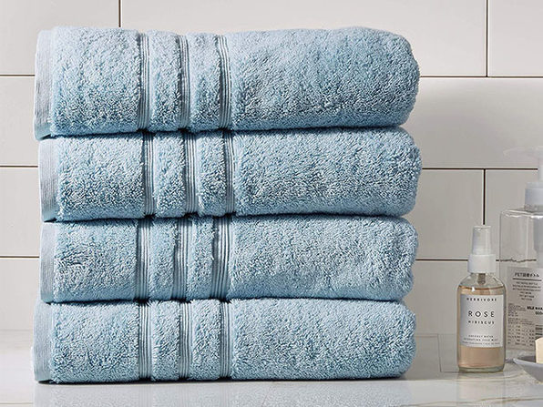 Turkish Cotton 700 GSM Bath Towels: Set of 4 (Blue)
