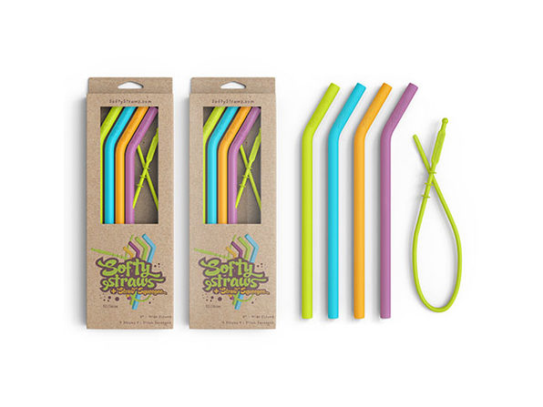 Softy Straws Assorted Colors Curved Silicone Reusable Straws 8-Pack - Product Image