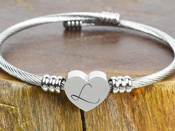 """Heart Cable """"L"""" Initial Bracelet"""