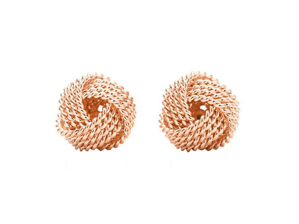 Mesh Twist Knot Stud Earrings (Rose Gold)