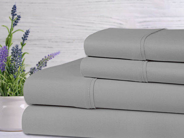 Bamboo 4-Piece Lavender Scented Bed Sheets - King - Silver - Product Image