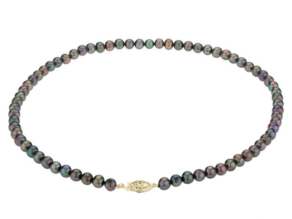 Black Peacock Freshwater Cultured Pearl 18 inch Necklace 6-7mm with 14K Yellow Gold Clasp - Product Image