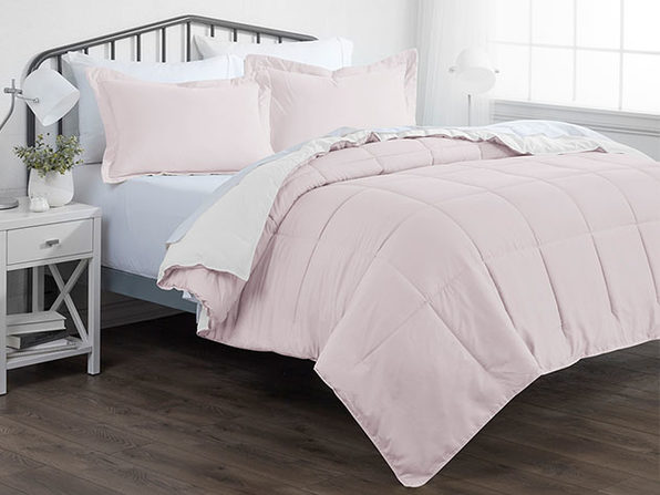 Down Alternative Reversible Comforter Set (Blush & White | Twin / Twin XL)