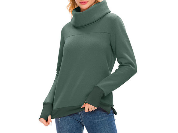 Green Solid Long Sleeve Cowl Neck Pullover with Back Pleat