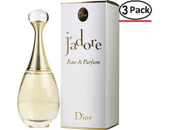 JADORE by Christian Dior EAU DE PARFUM SPRAY 3.4 OZ (Package Of 3)