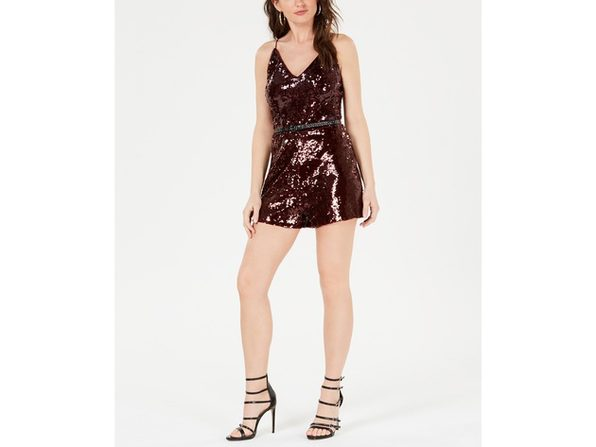 Guess Women's Jamison Belted Sequined Romper Wine Size Small