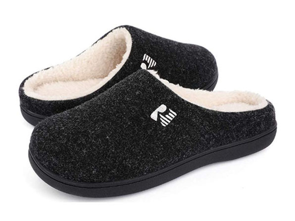 RockDove Men's 2-Tone Memory Foam Slippers | Black/Natural (Size 13-14)
