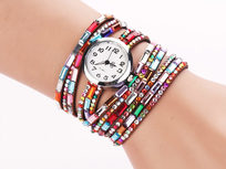 Jeweled Leather Bracelet Watch - Product Image