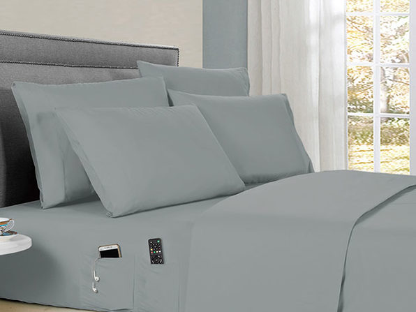 Kathy Ireland 6-piece Smart Sheet Sets w/ Pocket - Silver - Full - Product Image