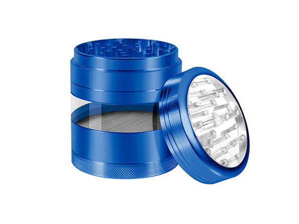 Aluminum Herb Grinder with Extra-Large Window (Blue)