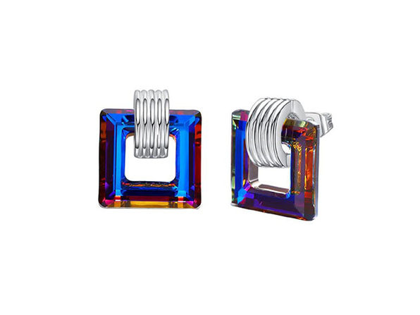 Swarovski Crystals Square Stud Earrings (Blue)