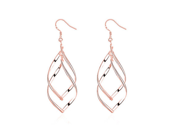 Spiral Twist Drop Earrings (Rose Gold)