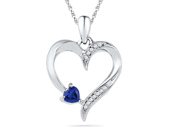 Lab Created Blue Sapphire Heart Pendant Necklace 1/5 Carat (ctw) in Sterling Silver - Product Image