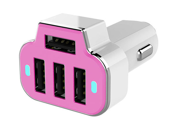 PowerStation 4-Port USB Car Charger (Pink)