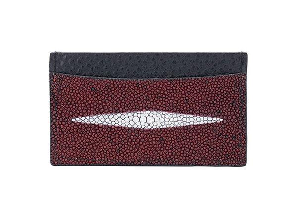 Andre Giroud Exotic Stingray Card Holder - Burgundy - Product Image