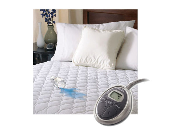 Sunbeam SelectTouch Water-Resistant Quilted Electric Heated Mattress Pad - White