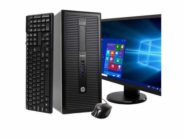 "HP EliteDesk 800 G1 Tower PC, 3.2GHz Intel i5 Quad Core Gen 4, 16GB RAM, 120GB SSD, Windows 10 Home 64 bit, BRAND NEW 24"" Screen (Renewed)"