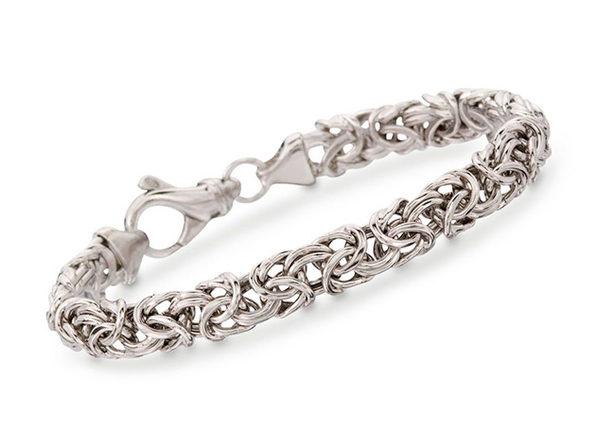 Classic Silver Plating Wheat Byzantine Bracelet - Product Image