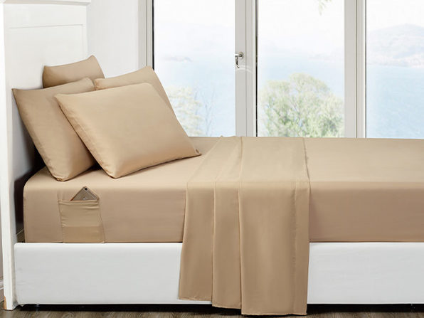 6-Piece Khaki Ultra-Soft Bed Sheet Set With Side Pockets (King)