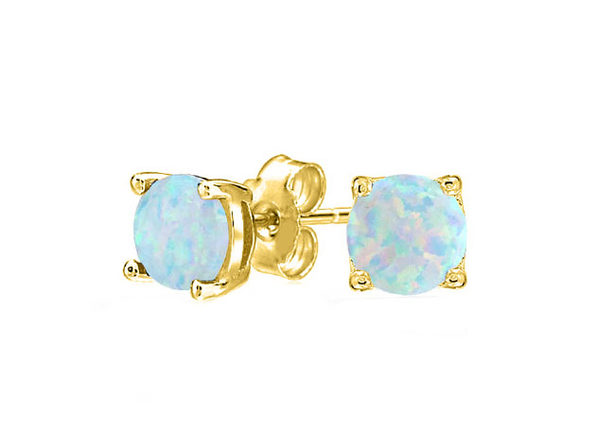 Opal-like Stud Earrings Gold - Product Image
