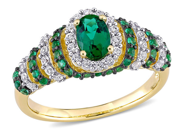 1.20 Carat (ctw) Lab Created Emerald & Created White Sapphire Ring in Yellow Plated Sterling Silver - 7