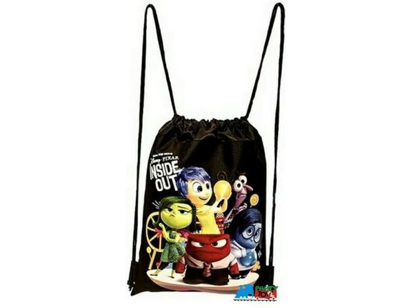 "Drawstring Bag - Inside Out - Black - 13"" X 11"""