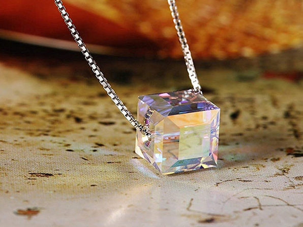 Solid Sterling Silver Aurora Borealis Crystal Cube Necklace with Swarovski Crystal